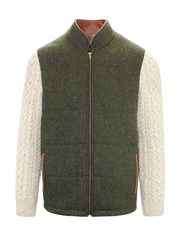 Green Shackleton Jacket with Natural Cable Knit Sleeve