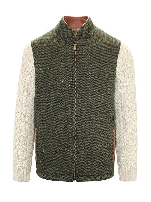 Veste Shackleton verte avec manches en tricot torsadé naturel