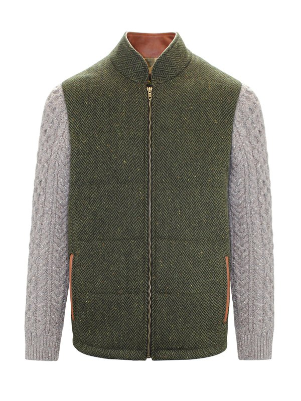 Green Shackleton Jacket with Rocky Road Cable Knit Sleeve