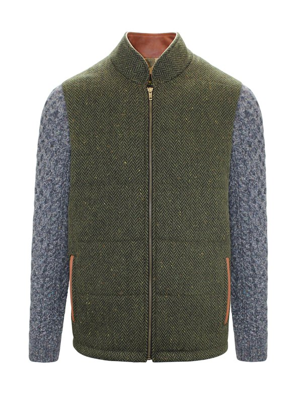 Green Shackleton Jacket with Navy Marl Cable Knit Sleeve - Green