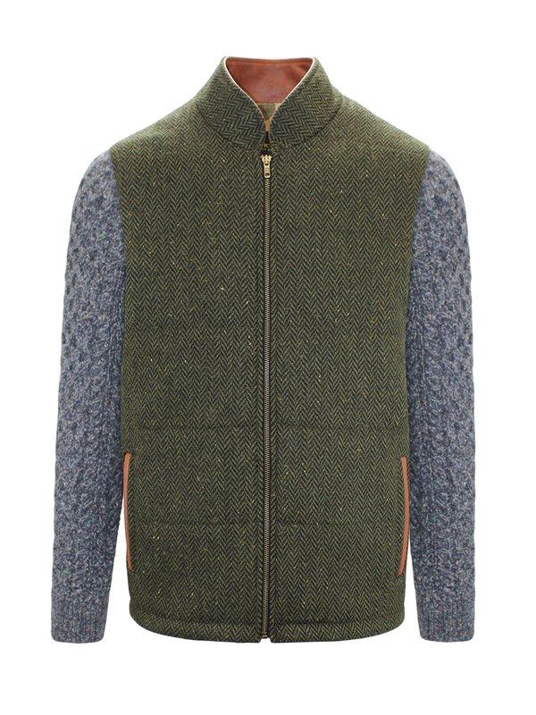 Veste Shackleton verte avec manches en tricot câblé bleu marine