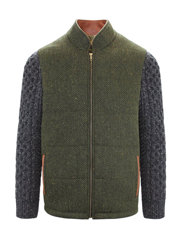 Green Shackleton Jacket with Charcoal Cable Knit Sleeve - Green