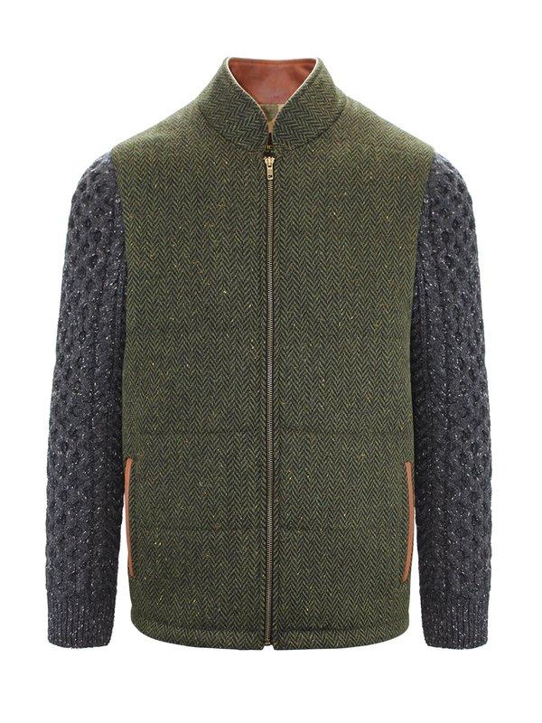 Veste Shackleton verte avec manches en tricot câblé gris anthracite