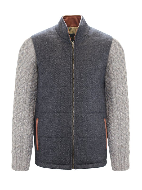 Grey Shackleton Jacket with Rocky Road Cable Knit Sleeve