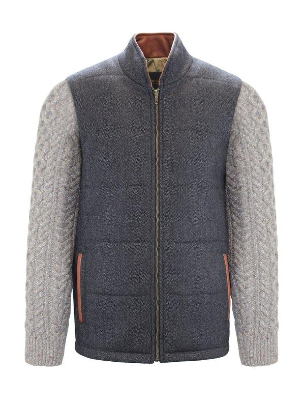 Veste Shackleton grise avec manches en tricot câblé Rocky Road