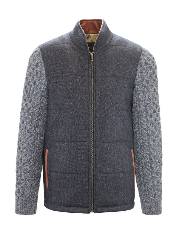 Grey Shackleton Jacket with Navy Marl Cable Knit Sleeve