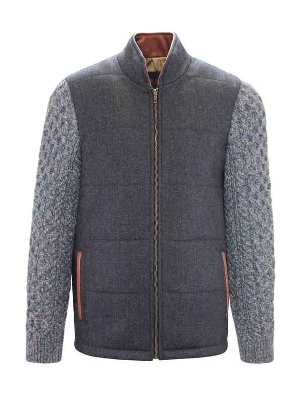 Veste Shackleton grise avec manches en tricot câblé bleu marine