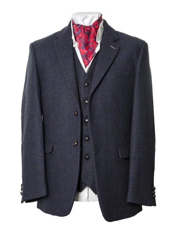 Ryan - Veste en tweed bleu foncé de coupe classique