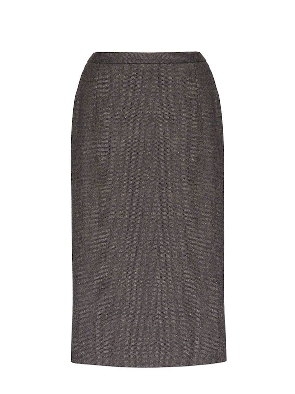 Ladies Brown Hopsack Calf Length Skirt - Brown