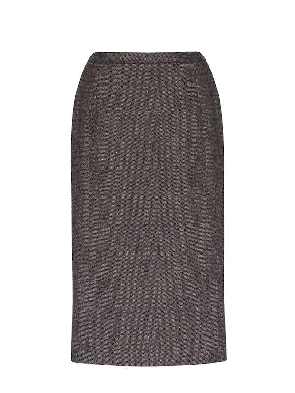 Ladies Brown Hopsack Calf Length Skirt - Brown