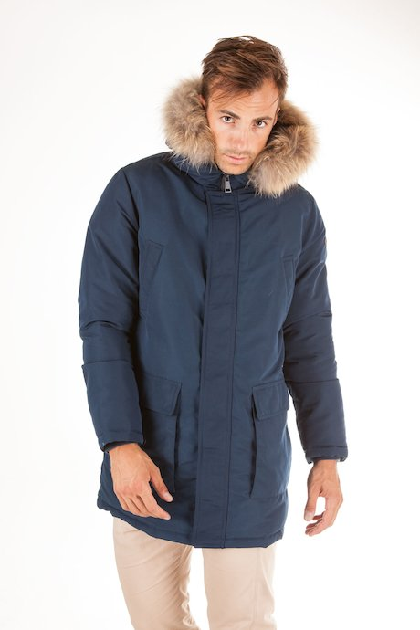 Long parka real fur hood border