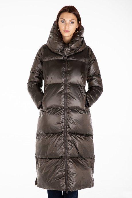 Long Down Jacket in Nylon Shiny Synthetic Padding