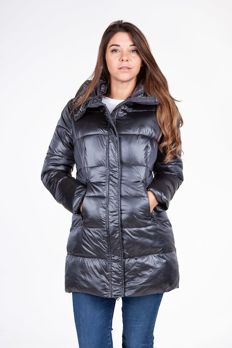 Long satin down jacket