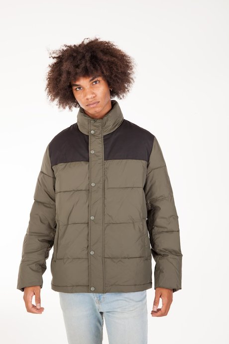 Bicolor Down Jacket High Collar