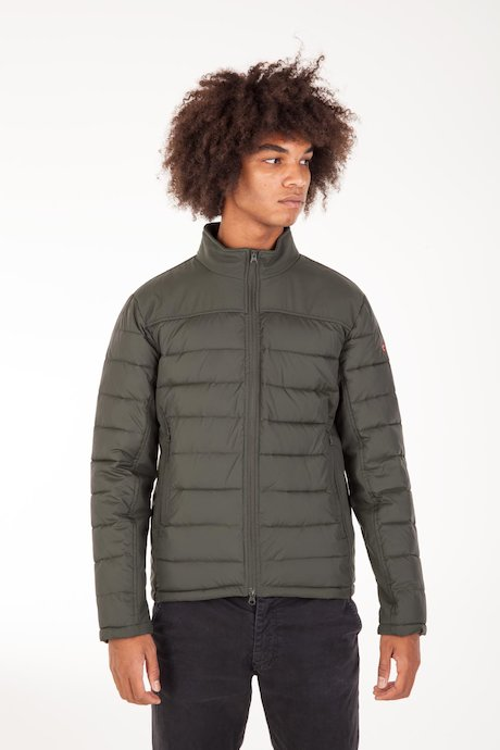 Short Bimaterial Down Jacket
