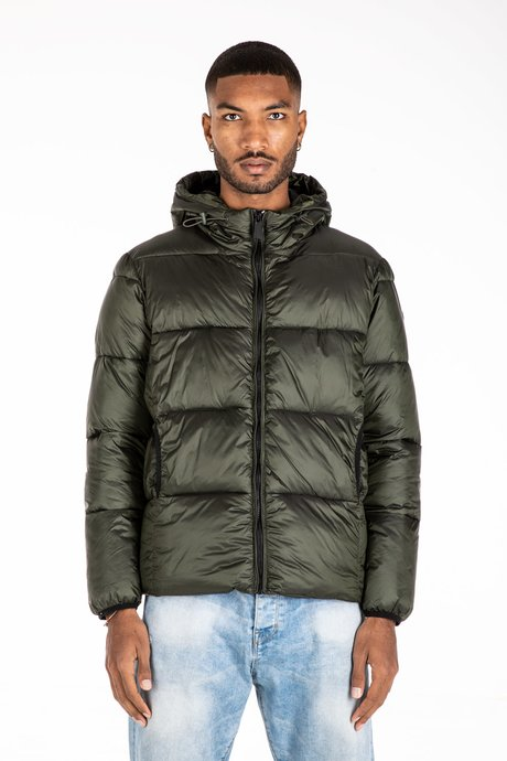 Short Down Jacket with Synthetic Padding