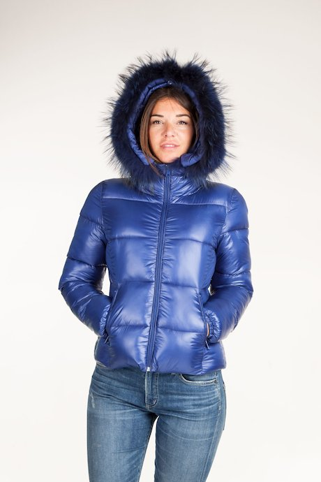 Short down jacket with real fur hood