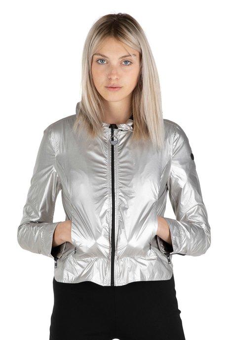 Jacket with metallic fabric hood