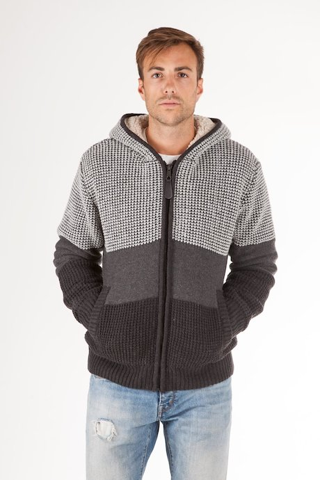 Sweater with zip and hood