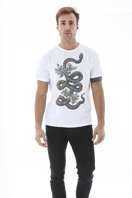 T-shirt con Stampa Serpente