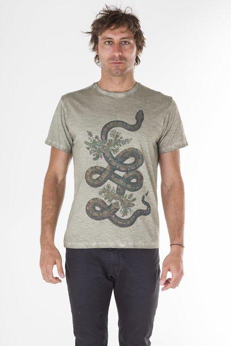 T-shirt con Stampa Serpente