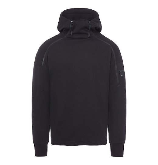 DIAGONAL FLEECE LENS ZIP HOODED SWEATSHIRT