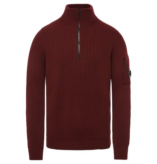 Merino Wool Fisherman Half Zip Lens Sweater