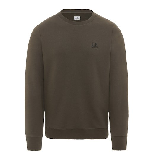 Diagonal Raised Fleece Plain Crew Sweatshirt
