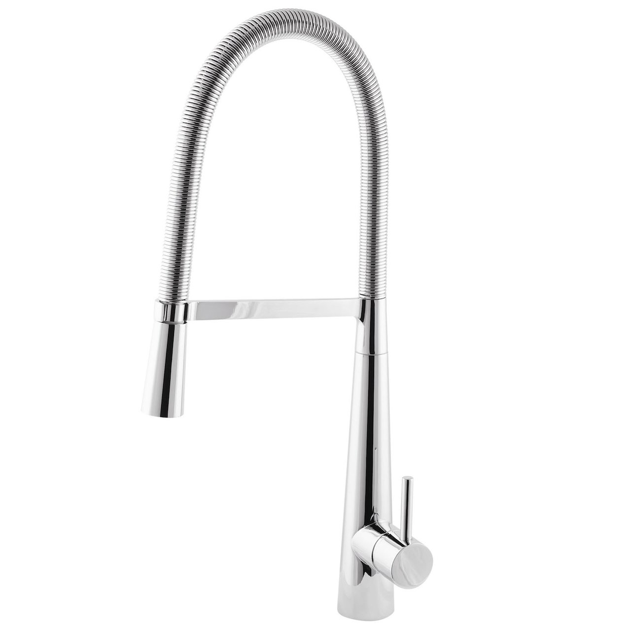 Sink mixer with spring pull down
