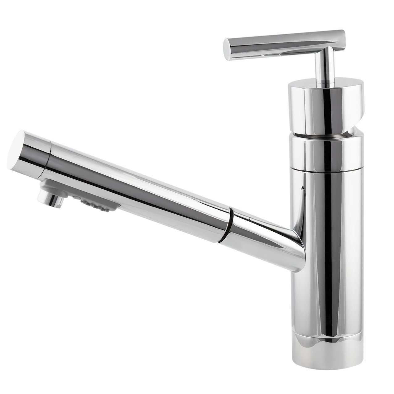 Single lever kitchen mixer with a extractable spout
