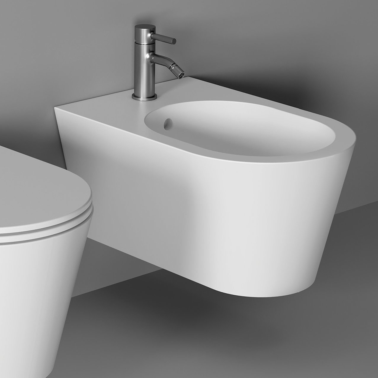 Bidet Hide Round wall hung - White