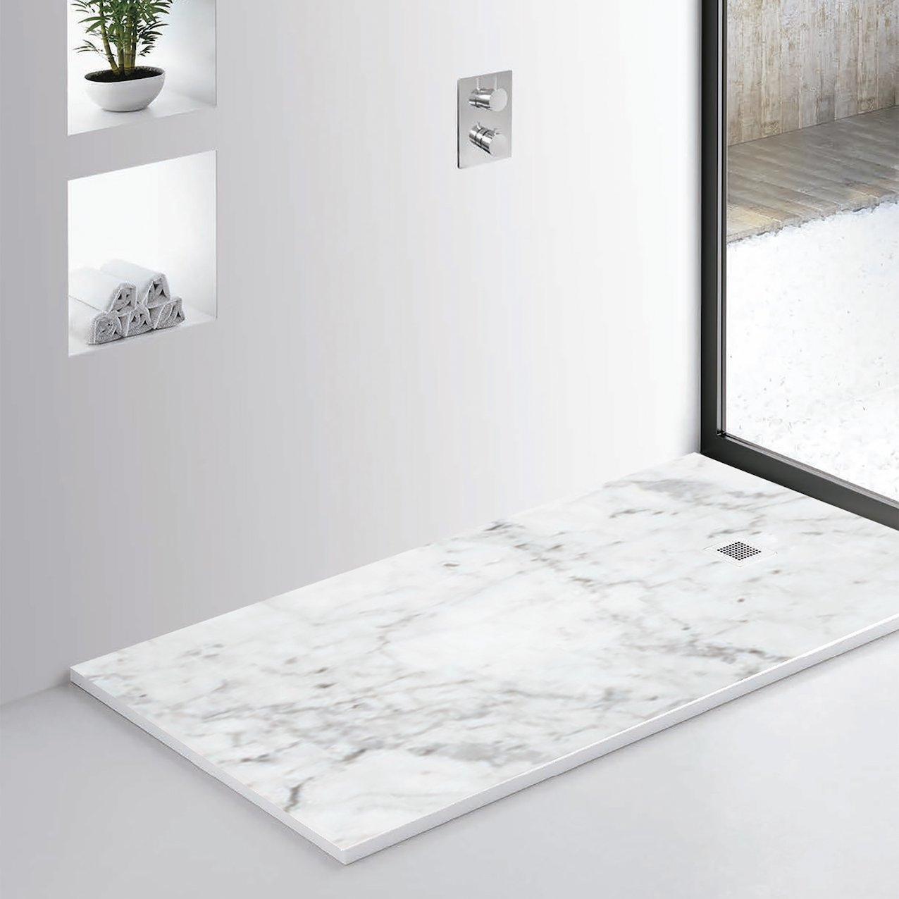White Marble Shower Tray