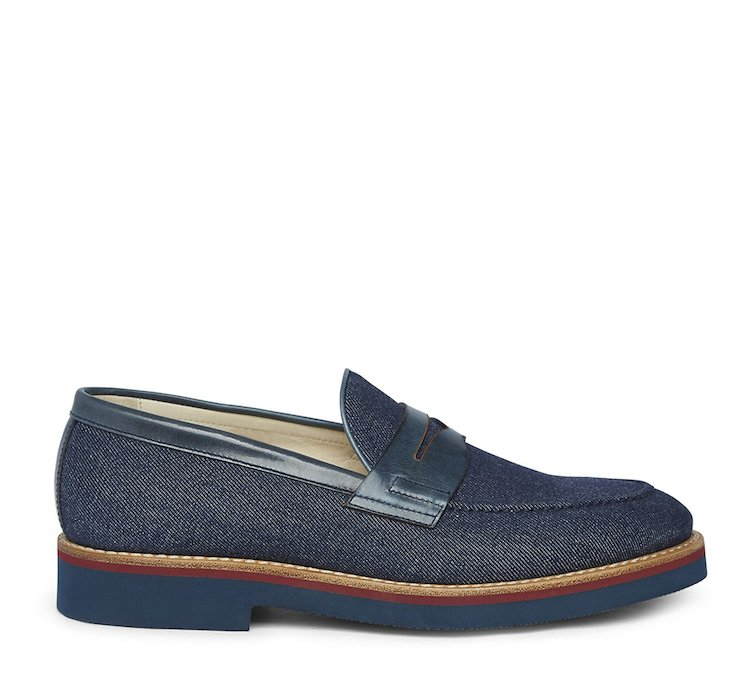 Mocassino in tessuto denim