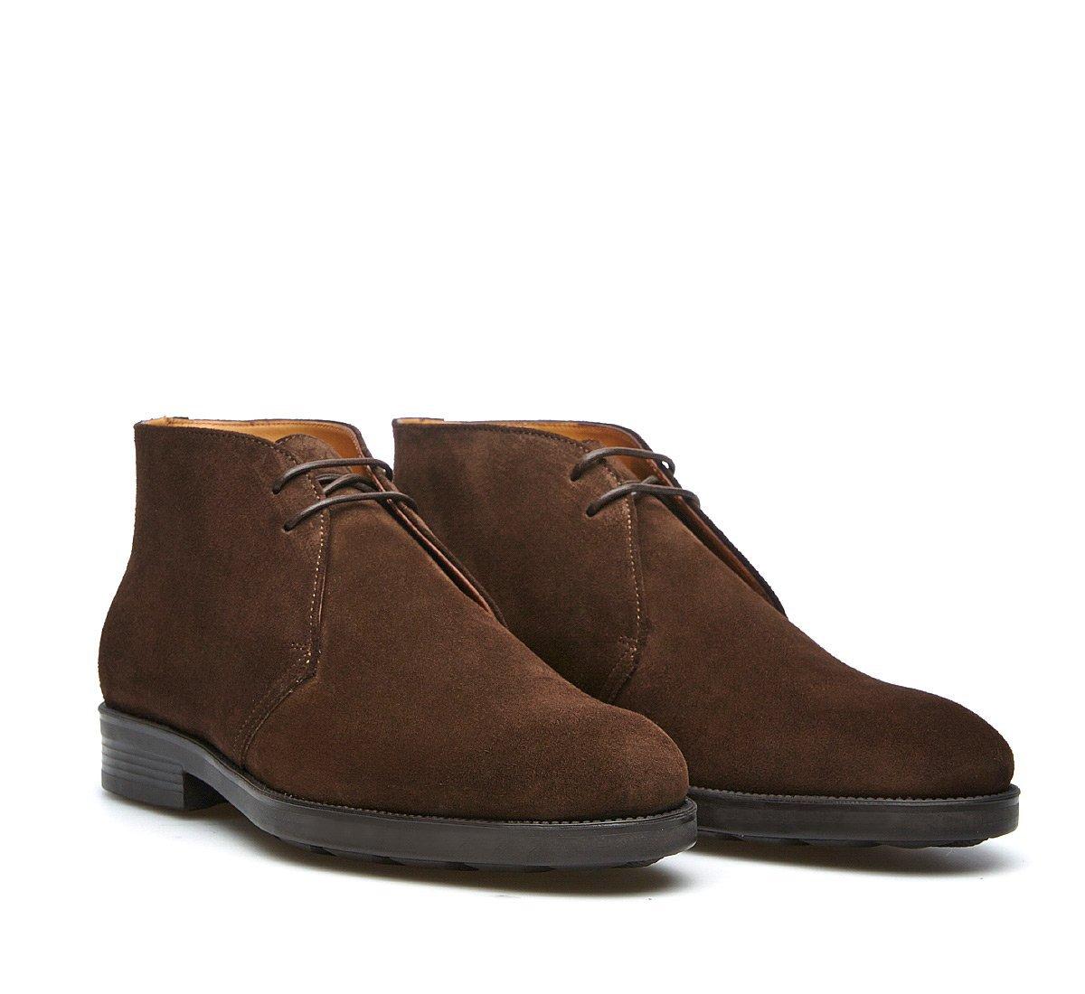 Ботинки из мягкой выделанной замши