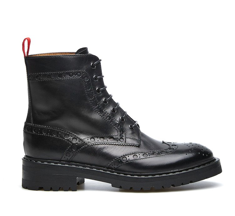 Barracuda combat boots in abraded calf leather