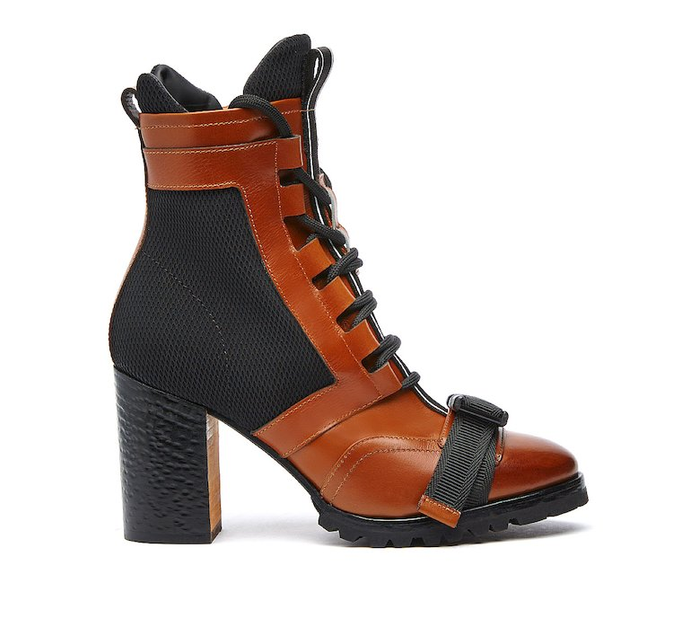 Barracuda ankle boots in calf leather and fabric
