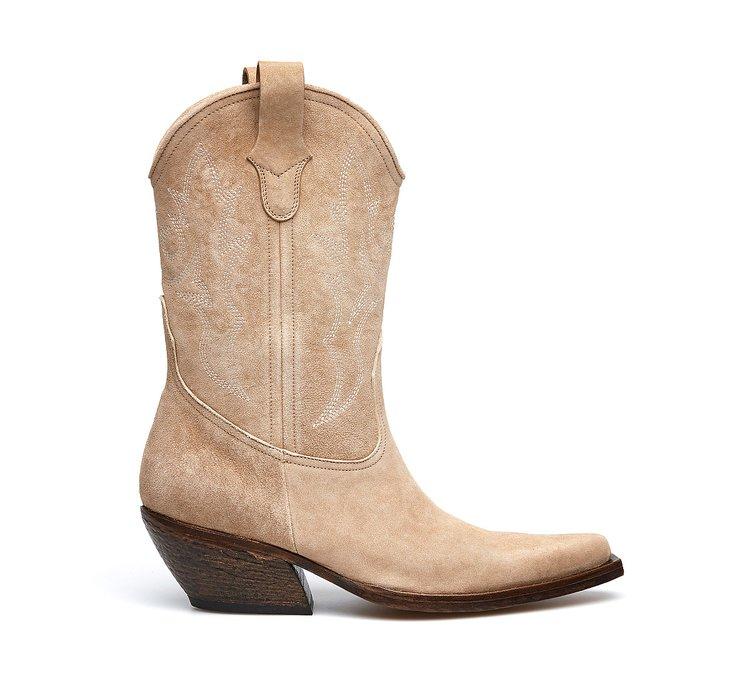 Barracuda cowboy boots in suede calfskin