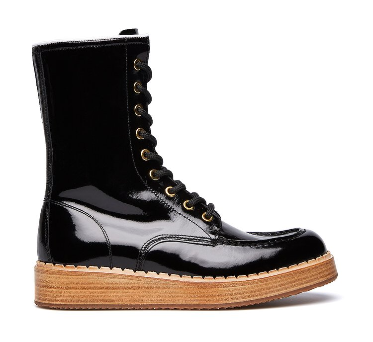 Barracuda combat boots in brushed calfskin