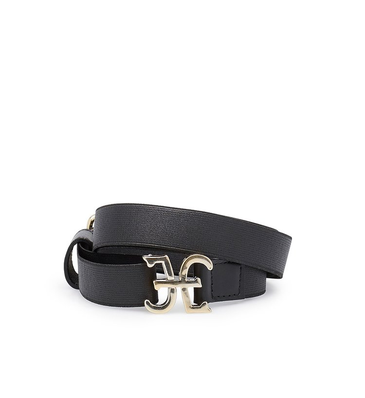 Elastic belt with logo-bearing fastening
