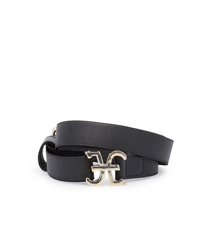 Elastic belt with logo-bearing fastening