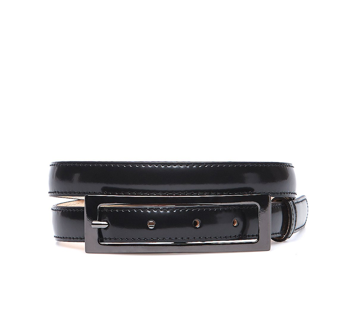 Shiny look leather belt