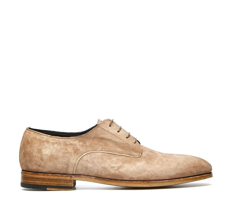 Barracuda lace-ups in soft suede calfskin