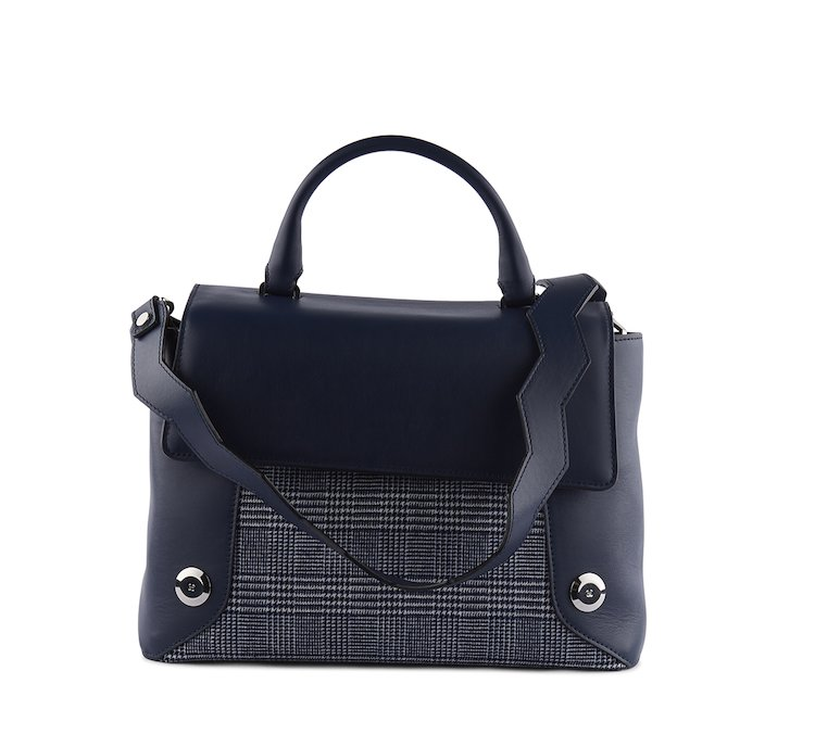 Handbag in morbida nappa e tessuto