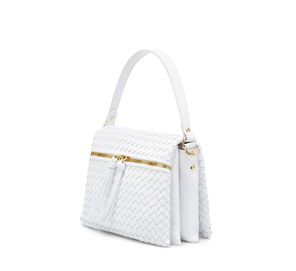 City bag with woven calfskin