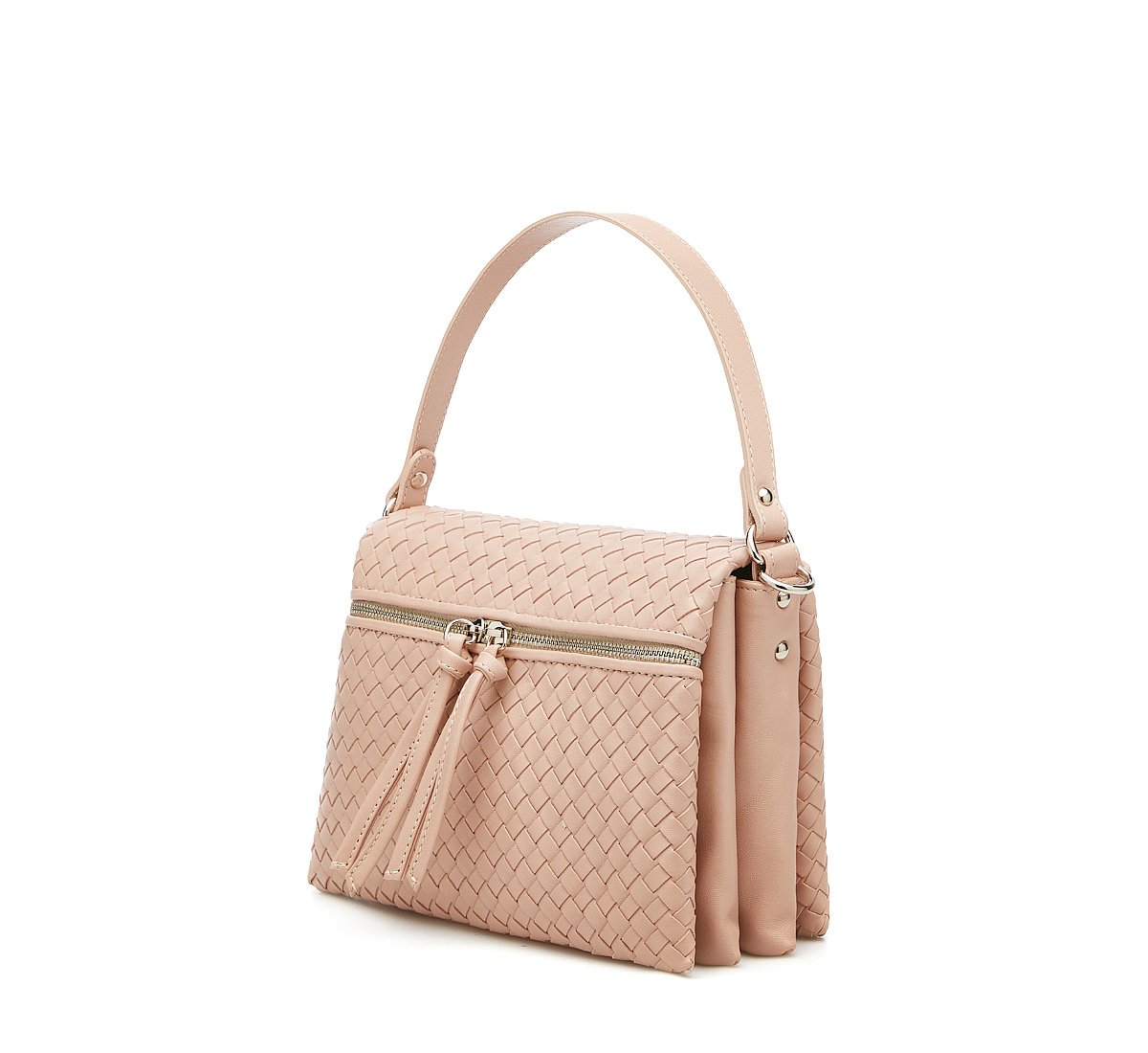 City bag with woven calfskin