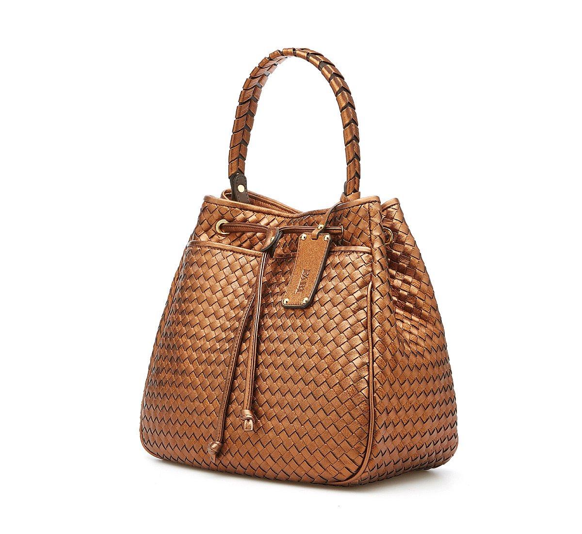 Wicker calf leatherbag