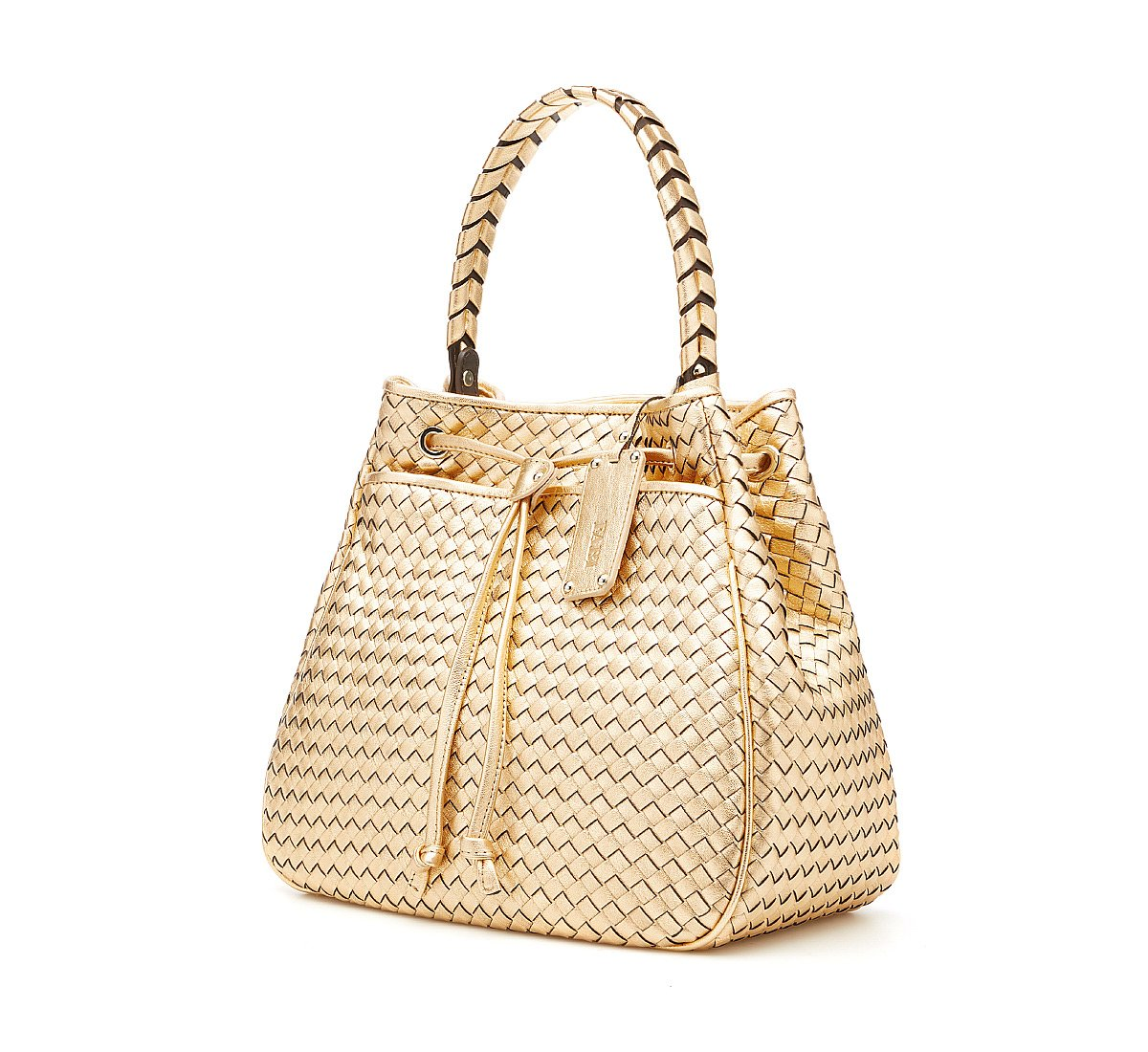 Wicker calf leather bag