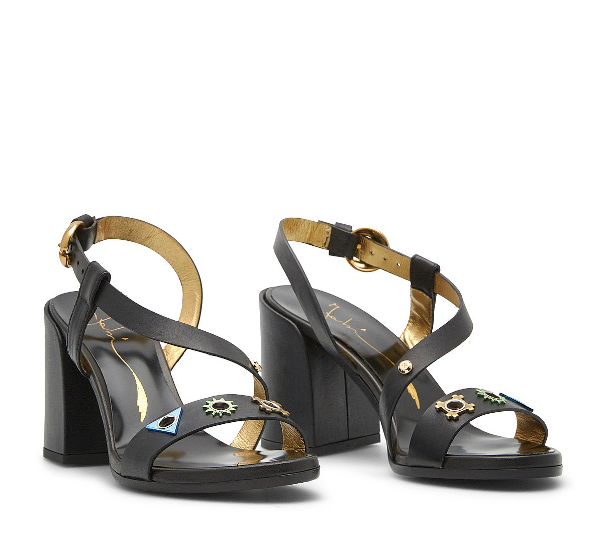 Calf leather sandals chunky