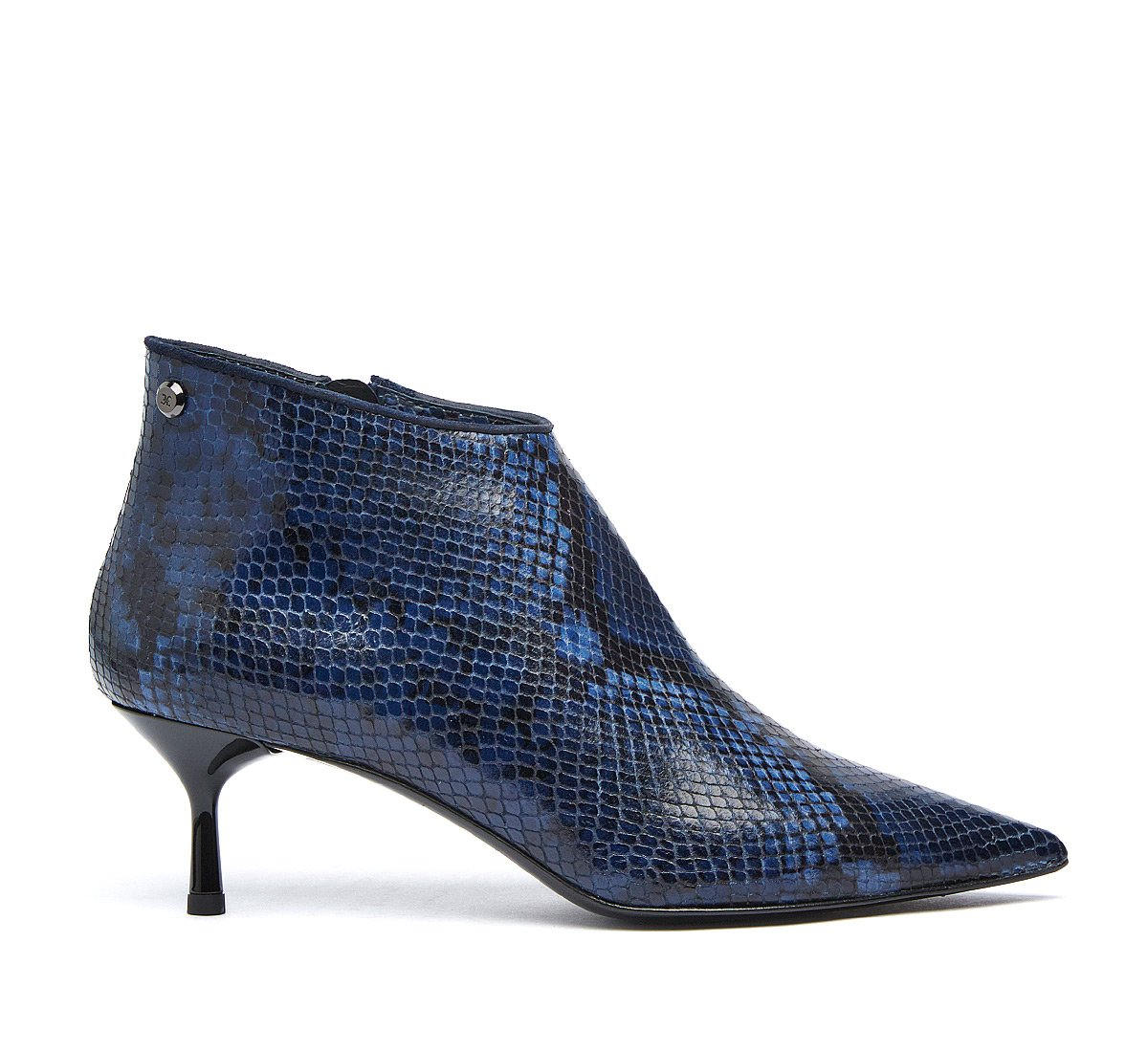 Python print calf leather ankle boots