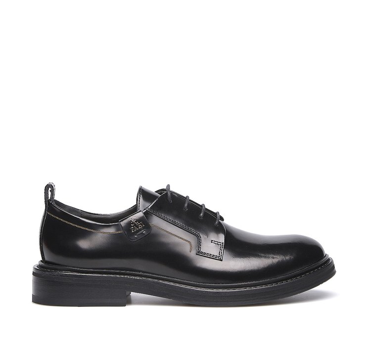 Туфли на шнуровке из телячьей кожи с глянцевым эффектом